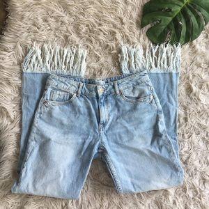 Zara light wash fringe hem flare jeans